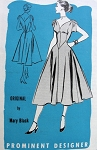 1950s EVENING DRESS PATTERN FIGURE MOLDING STYLE SHAPED NECKLINE, DRAPED SLEEVES, BEAUTIFUL DANCING SKIRT, PROMINENT DESIGNER PATTERNS 770 MARY BLACK