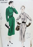 1950s Vogue Pattern 7736 Slim Dress Flattering Curved Overlap Bodice Detachable Collar Cuffs