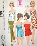 60s Barbie Style Bathing Suit  Beach Wear Pattern McCalls 7779 Vintage Sewing Pattern Empire or Regular Waist Swimsuit, Slim Pants, Shift Dress or Top Super Kawaii Cute UNCUT FACTORY FOLDED