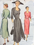 1940s DRAMATIC Cocktail Dinner Dress McCALL 7847  Sweetheart Neckline,Side Skirt Panels,2 Style Versions Bust