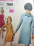 MOD 60s DRESS PATTERN DESIGNER FASHION SIMPLICITY 7849