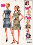 1960s Mod Shift Dress and Detachable Collars Pattern Cute Kawaii Dress Style Simplicity 7867 Vintage Sewing Pattern UNCUT FACTORY FOLDED Size 8