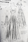 1930s EVENING GOWN PATTERN  2 LOVELY NECKLINES and BACKS, ATTACHED SLIP BUTTERICK 7913 Bust 33