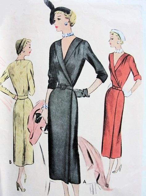40s SLIM CLASSY WRAP AROUND DRESS PATTERN FLATTERING SURPLICE Amazing Wrap Around Dress Pattern