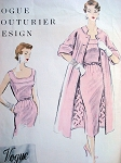 1950s LOVELY Slim Dress and Coat Pattern VOGUE COUTURIER Design 797 Daytime or Cocktail Party Dress Bust 34 Vintage Sewing Pattern