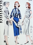 1950s  CLASSY Slim 2 Pc Dress Coordinates Pattern  BUTTERICK  8024 Two Blouse styles, Slim Inverted Front Pleat Skirt Bust 36 Vintage Sewing Pattern FACTORY FOLDED