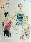 1950S  SIZZLING Day or Evening Blouse Pattern VOGUE 8100 Scoop Neckline Blouse Top in 2 Versions Bust 30 Very Easy To Make Vintage Sewing Pattern