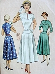 1950s Lovely Dress Pattern Unique Seam Interest Fitted Bodice Choice of Button or Slit Necklines Flattering Design McCall 8115 Bust 31