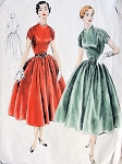 1950s Beautiful Evening Party Dress Pattern VOGUE 8133 Lovely Shirred Shoulders Vintage Sewing Patterns