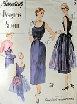 SIMPLICITY DESIGNERS PATTERN 8252 SLIM 1950s EVENING DRESS, LOVELY CURVED FRONT BOLERO JACKET, FULL APRON in 2 LENGTHS