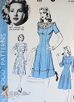 1940s WW II War Time Betty Grable Dress Pattern HOLLYWOOD 830 Flattering 40s Swing Dress Princesse Style 3 Versions Bust 30 Vintage Sewing Pattern