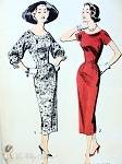 1950s FABULOUS Sheath Dress Pattern  ADVANCE 8321 Day or After 5 Slim Dress Short Sleeves or Lovely Full Sleeves Bust 36 Sew Easy Vintage Sewing Patterns