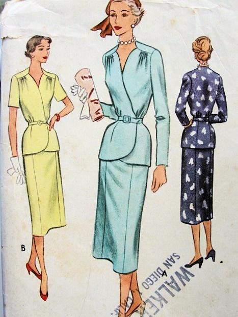 1950s Lovely Suit Pattern Draped Shoulders Surplice Front