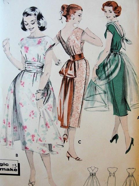 1950s Slim Cocktail Sheath Dress Pattern Scoop Neck Low V