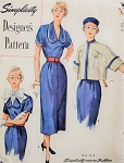 1950s Dress With Detachable Trim, Dickey and Jacket Pattern Simplicity Designers 8357 Vintage Sewing Pattern FACTORY FOLDED Bust 34