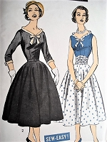 1950s BEAUTIFUL Dress Pattern ADVANCE 8364 Wide V Neckline, Circular Skirt Two Styles Bust 31 Sew Easy Vintage Sewing Pattern