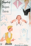 1940s ACCESSORIES PATTERN CAP HAT, WESKIT VEST, DICKEY, COLLARS, CUFFS SIMPLICITY DESIGNERS PATTERN 8372