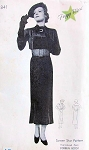 1930s New York Pattern 841 Screen Star Peggy WoodTailored Dress Pattern Slim Art Deco Attached Scarf