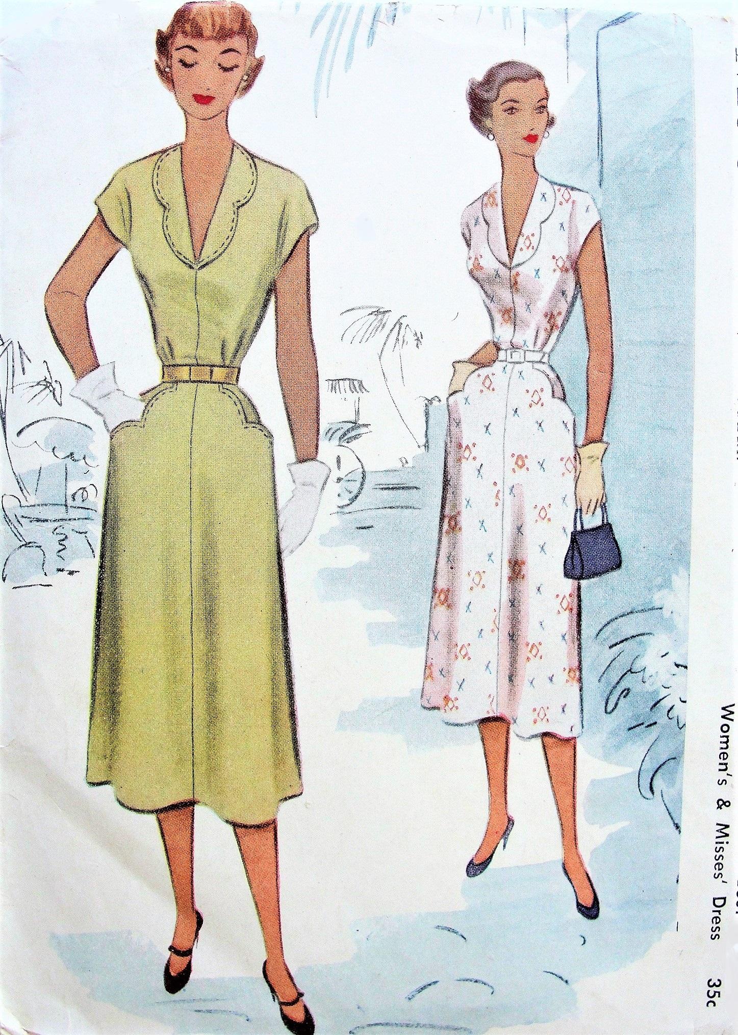 1950s PRETTY Dress Pattern McCALL 8423 Deep V Neckline Scalloped ...