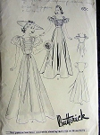 1930s BEAUTIFUL EVENING GOWN PATTERN SHIRRED BODICE, RUFFLED or PUFF SLEEVES  BUTTERICK 8547