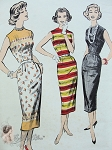 1950s Sleeveless Sheath Dress Pattern perfect For Border Prints, Stripe Fabrics Sew Easy Advance 8553 Vintage Sewing Patterns UNCUT Bust 32