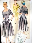 1950s Beautiful Cocktail Party Dress McCALLS 8574 Striking Ruched Sleeves Portrait Neckline Vintage Sewing Pattern