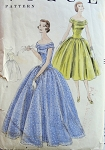 1950s LOVELY EVENING GOWN DRESS PATTERN ELONGATED BODICE, VERY FULL SKIRT, ALMOST OFF SHOULDERS NECKLINE VOGUE PATTERNS 8602
