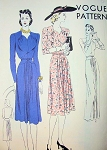 1940s VOGUE PATTERN 8625 FILM NOIR EVENING GOWN or COCKTAIL DINNER DRESS, SLIM SILHOUETTE, BEAUTIFUL DETAILS