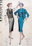 1950s  SUIT PATTERN SLIM SKIRT, BLOUSON JACKET or JERKIN BUTTERICK 8664
