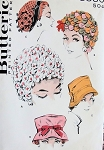1950s Hats Pattern Butterick 8880  Five High Fashion Styles Fun Floral Wig Hat ,Fedora, Directoire Bonnet Hat Vintage Sewing Pattern FACTORY FOLDED