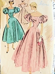 1950s EVENING DRESS PATTERN  DRAMATIC OFF THE SHOULDERS LARGE PUFF SLEEVES McCALLS 8913