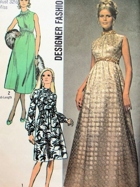 1970 Evening Dress Pattern 3 Lengths Empire Waist
