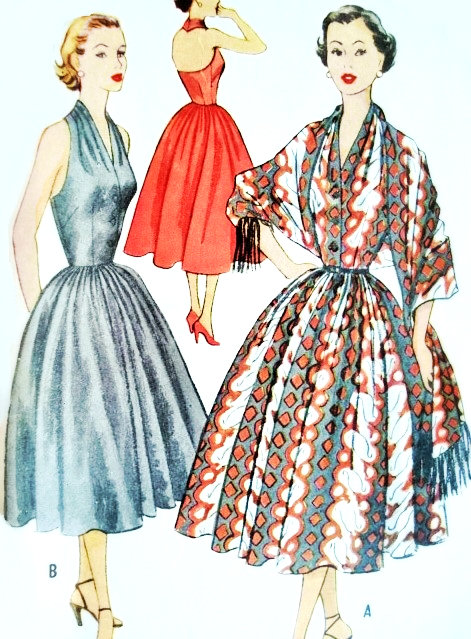 1950s Beautiful Halter Dress and Stole Pattern Marilyn Monroe Style ...