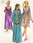 70s FABULOUS Robe Housecoat Pattern SIMPLICITY 9248 Three Styles, 2 Lengths Lounging Hostess Gown or Dress Sheer Border Fabric Version Make From Antique Sari Bust 36 or 38 Vintage Sewing Pattern UNCUT