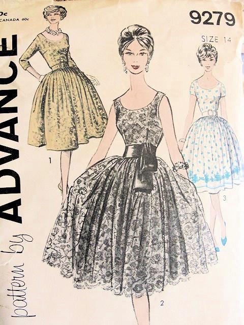 40s COCKTAIL EVENING DRESS PATTERN LOW SCOOP NECKLINE DEEP V BACK Adorable Vintage Dress Patterns 1950s