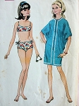 1960s BATHING SUIT BIKINI 2 PC SWIM SUIT and CAFTAN STYLE BEACH COVER UP PATTERN McCALLS 9285 Bust 32.5