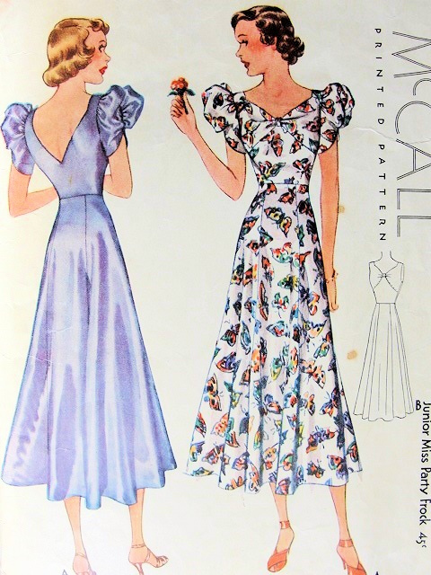 Mccall 9335 Party Frock Pattern 1930s Bias Cut Evening