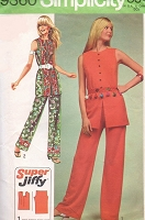 70s BOHO Sleeveless Tunic and Hip Hugger Pants Pattern SIMPLICITY 9360 Bust 31 Vintage Sewing Pattern UNCUT