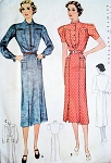 1930s DRESS PATTERN INTERESTING NECKLINE STYLES B 34 FF