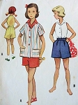 1950S CUTE Little Girls Blouse Shirt and Shorts Pattern McCALLS  9383 Size 4 Childrens Vintage Sewing Pattern