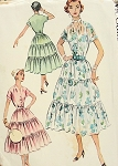 1950s Pretty Dress pattern Draped Shoulders 3 Tier Full Skirt McCalls 9406