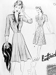 1940s FAB Butterick Pattern 9417 Ladies Afternoon Frock  Flippy Six Gored Skirt V Neckline Shirred Bodice Bust 42 Vintage Sewing Pattern