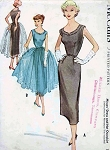 1950s SLIM COCKTAIL DRESS PATTERN SEPARATE FULL OVERSKIRT McCALLS 9434
