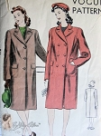 1940s CLASSIC Straight Coat Pattern VOGUE 9460 Single or Double Breasted Box Coat Design Bust 32 Vintage Sewing Pattern