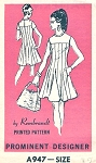 60s Mod Flattering Dress Pattern Fit n Flare Mini Scooter Dress Rembrandt Prominent Designer A947 Vintage Sewing Pattern Bust 34 UNCUT