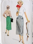 1950s Slim Pencil Skirt Pattern McCALLS 9482 Interesting Front Pockets Waist 28 Vintage Sewing Pattern