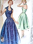 50s Evening Dress Gown Pattern McCalls 9508 Bombshell Sweetheart Neck Wing Collar Halter Top Full Skirt Bust 32 Vintage Sewing Pattern