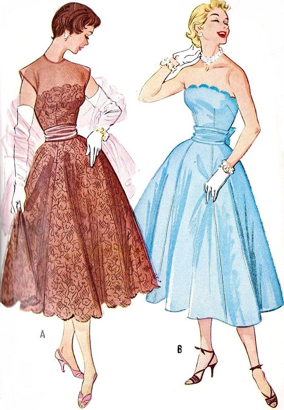 1950s Beautiful Evening Dress Pattern Strapless Version Full Skirt ...