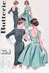 STUNNING 50s Cocktail Evening Dress Pattern Little Black Dress Slim or Full Skirt Versions, Bateau Neckline Low Square Back Mad Men Era Butterick 9569 Quick n Easy Vintage Sewing Pattern Bust 38 FACTORY FOLDED