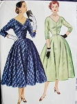 1950s COCKTAIL EVENING DRESS PATTERN LOW V NECKLINE LOVELY FULL SKIRT McCALLS 9572